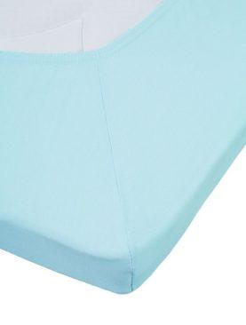 Cearceaf albastru cu elastic bumbac 80x200 cm Jersey Tp Light Blue