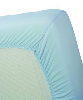 Cearceaf albastru pat bumbac 160x200 cm Jersey HL Light Blue