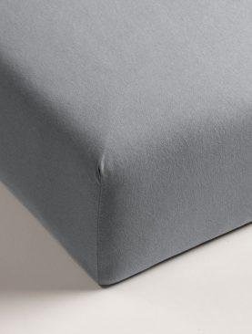 Cearceaf pat gri bumbac elastic 80x200 CM JERSEY HL Light Grey