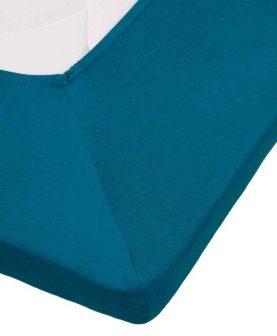 Cearceaf pat turcoaz cu elastic bumbac 80x200 cm Jersey TP Sea Green
