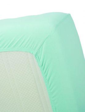 Cearceaf pat turcoaz deschis 160x200 cm Jersey HL Mint Green
