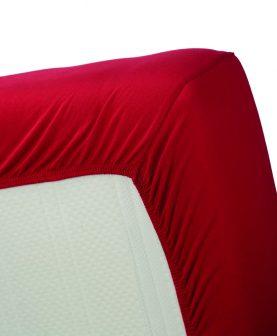 Cearceaf rosu pat bumbac 160x200 cm Jersey HL Red