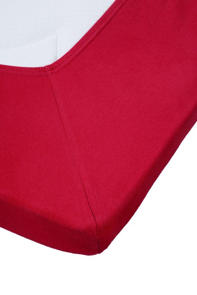 Cearceaf rosu pat bumbac Jersey Red
