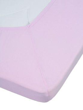 Cearceaf roz pat fetite elastic bumbac 80x200 cm Jersey TP Soft Pink
