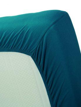 Cearceaf turcoaz pat bumbac 160x200 cm Jersey HL Sea Green