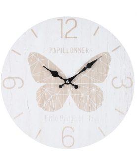 Ceas alb perete fluture Julie Blanc diametru 30 cm