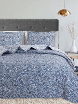Cuvertura albastra pat flori 7876 Oriana Azul 235x270 cm