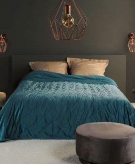 Cuvertura catifea albastra 5109 Pandore 45 240x250 cm