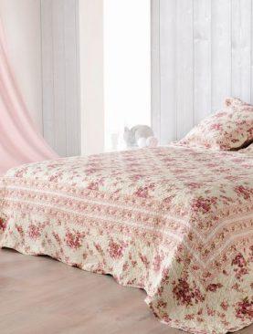 Cuvertura pat trandafiri rosii Roselyne 230x250 cm