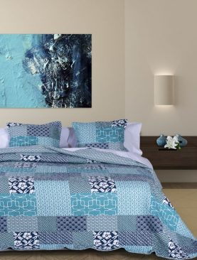 Cuvertura pat turcoaz patchwork Brigitte 7783 235x270 cm
