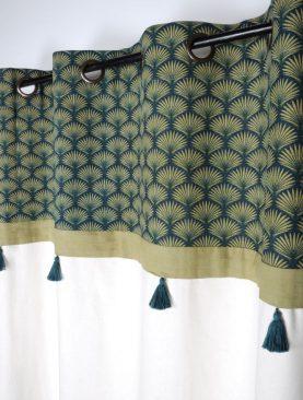 Draperie alba verde cu ciucuri Greenmood Emeraude 140x260 cm