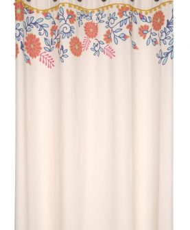 Draperie bej florala bumbac Anya Multicolor 140x260 cm