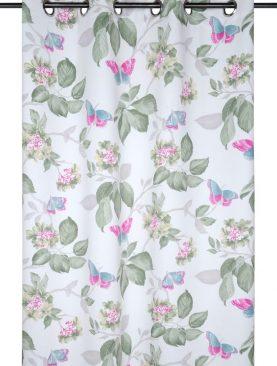 Draperie blackout flori fluturi Rozza Blanc 140x260 cm