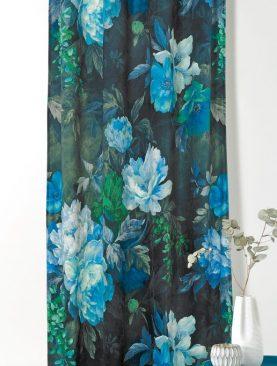 Draperie catifea flori albastre 1900 49333 Pivoine 45 145x250 cm