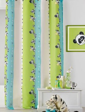 Draperie copii verde albastru 0206/49807 Zebre 135x260 cm