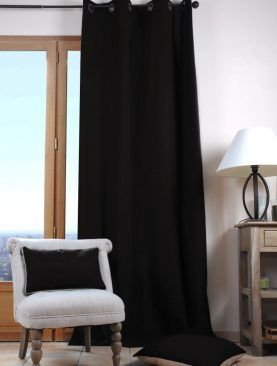 Draperie neagra bumbac Duo Noir 135x240 cm