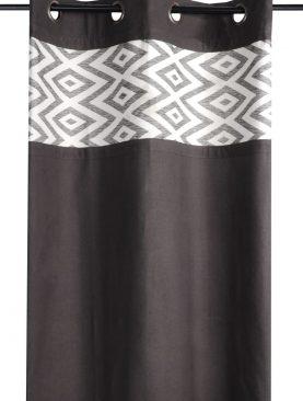 Draperie neagra confectionata Teck Noir 135x250 cm