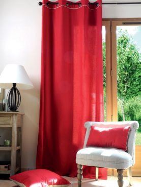 Draperie rosie bumbac Duo Rouge/Lin 135x250 cm
