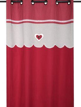Draperie rosie inima Lyna Rouge 140x260 cm