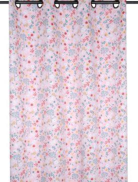 Draperie roz cu floricele blackout Pimprenelle Rose 140x260 cm