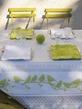 Fata masa alba verde pasari bumbac Pie 155x155 cm