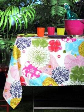 Fata masa bumbac flori colorate 155x155 cm Bahamas