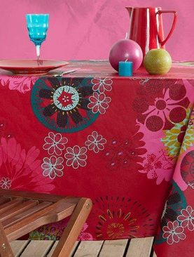 Fata masa rosie verde Mandala bumbac 155x155 cm