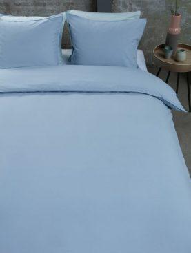 Lenjerie albastra pat bumbac Basic Blue 200x200/220 cm