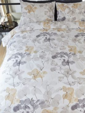 Lenjerie florala pat dublu Deltane Gold 200x200/220 cm
