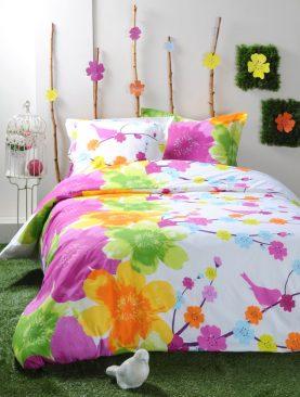 Lenjerie pat bumbac flori colorate Idylle 240x220 cm