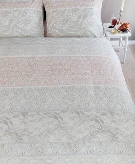 Lenjerie pat flori bej Lacy Soft Pink 200x200/220 cm