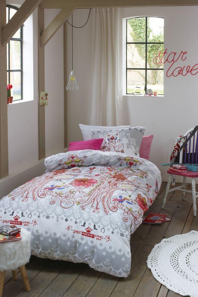 Lenjerie pat pentru fetite Tree Light Grey