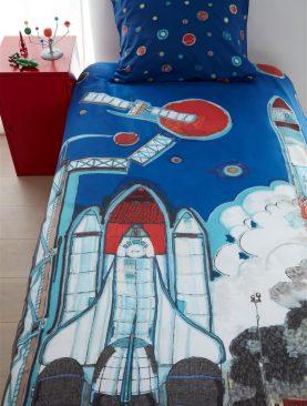 Lenjerie pat rachete spatiale Rocket Ship Blue 140x200/220 cm