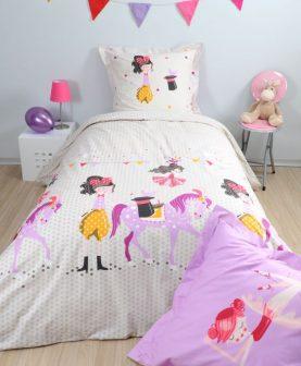 Lenjerie pat roz fetite si calut Dressy 140x200 cm