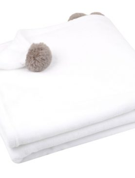 Patura alba cu ciucuri Mellow Blanc 130x160 cm