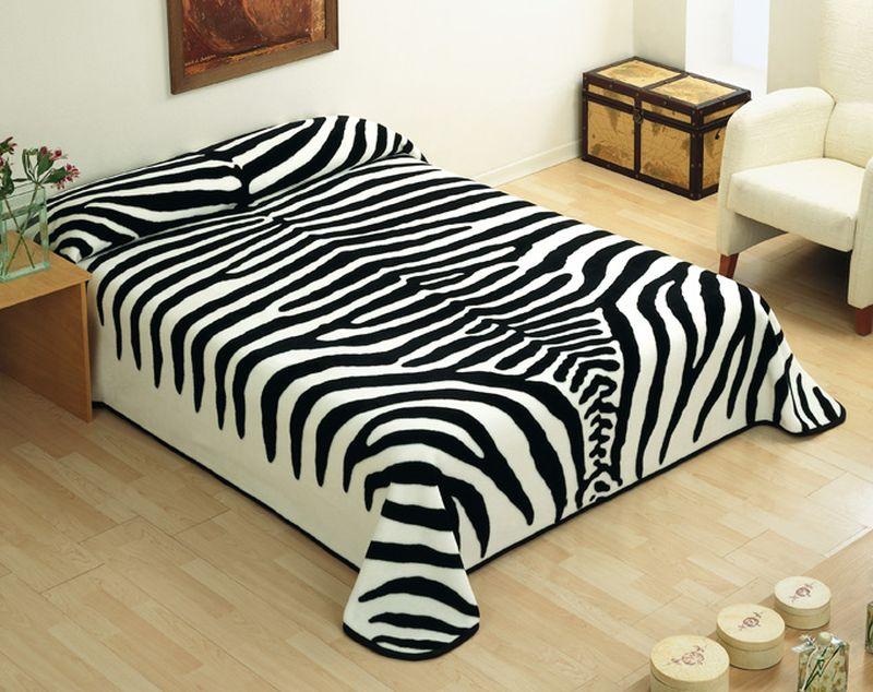 cuvertura animal print zebra alb negru 5121 220×240 cm