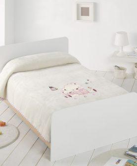 Patura fetite ursulet roz brodat 6223 Rosa 110x140 cm