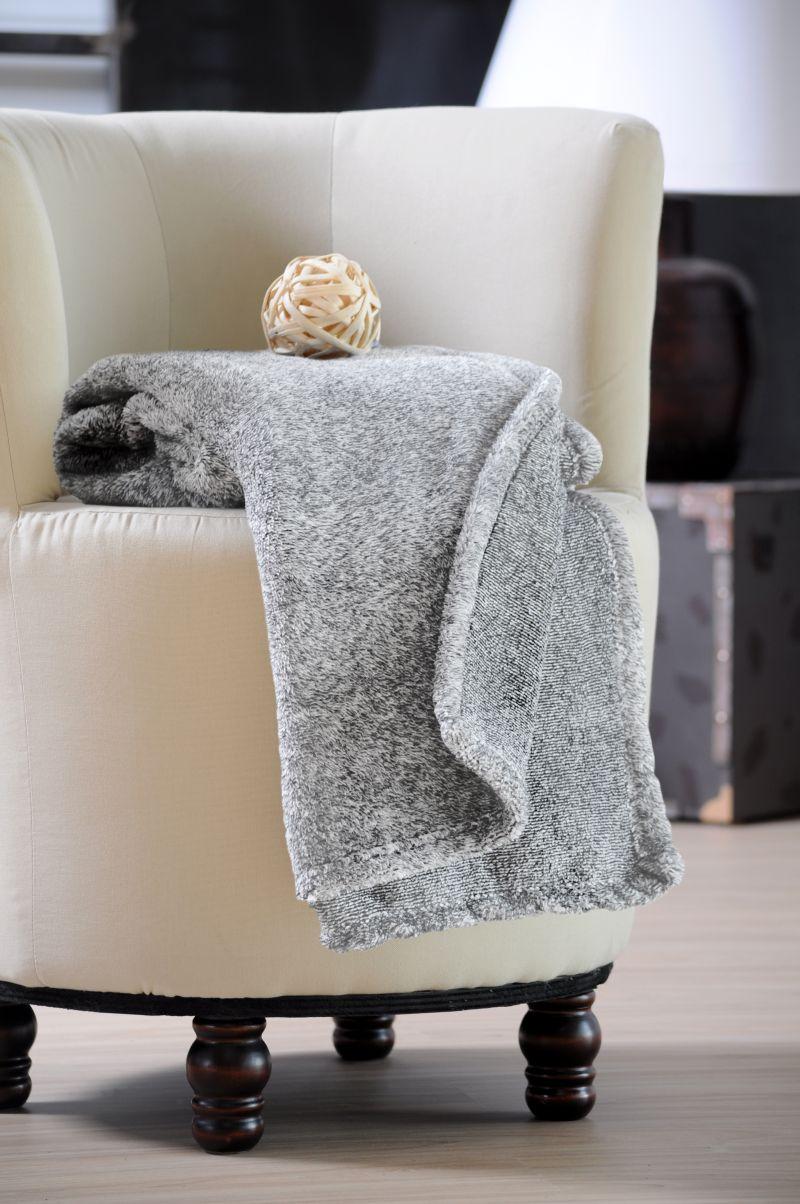 Patura gri pufoasa lână imitație Sweetness 130×160 cm (Franta)