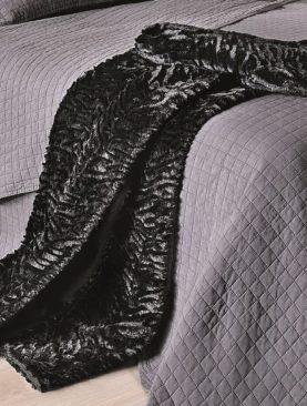 Patura neagra pufoasa Zebra 5045 130x180 cm