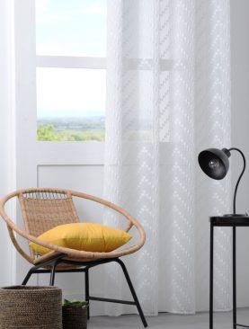 Perdea alba confectionata Design Blanc 140x260 cm