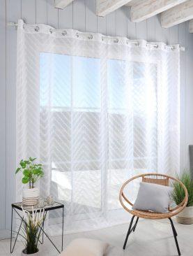 Perdea alba confectionata zigzag Design Blanc 290x260 cm