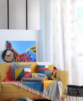 Perdea alba dungi galbene Colorblock Jaune 140x260 cm