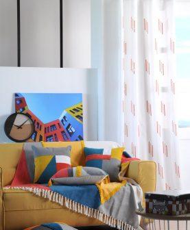Perdea alba dungi portocalii Colorblock Orange 140X260 cm