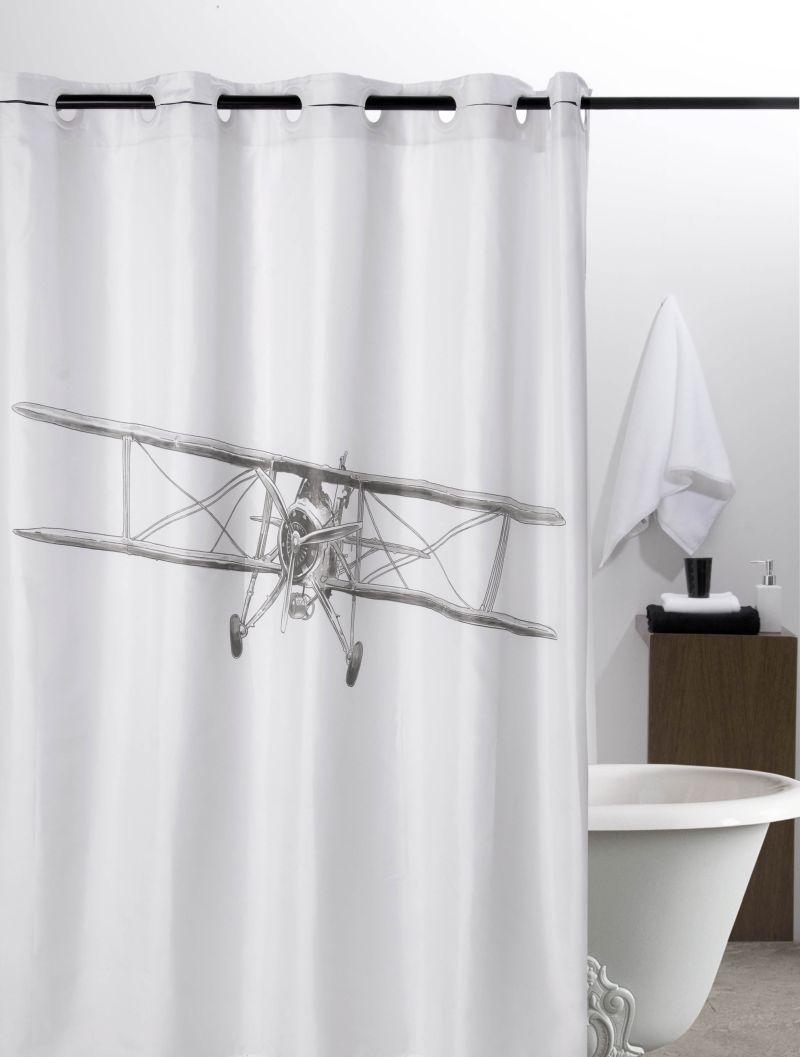 Perdea baie alba avion Airplane 217 180×200 cm (Spania)