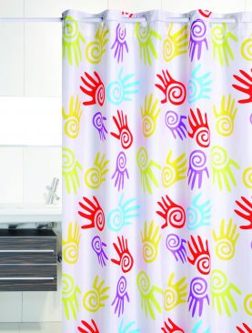 Perdea baie multicolora Hands 206 180x200 cm