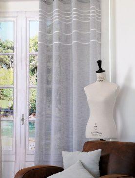 Perdea gri dungi albe orizontale Antic 135x260 cm