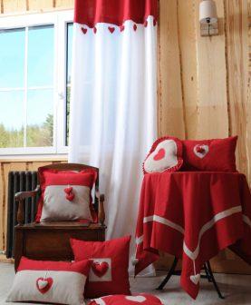 perdea cabana rustica rosie