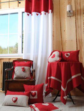 Perdea rustica rosie cabana Joliesse 1717 135x260 cm