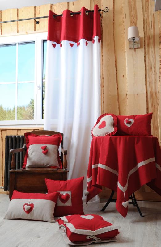 Perdea rustica rosie cabana Joliesse 1717 135×260 cm (Franta)