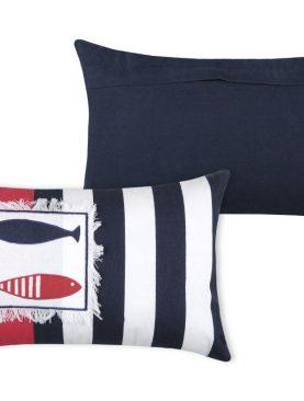 Pernă marinareasca rosu bleu alb Concarneau Rouge (Rayures) 30x50 cm